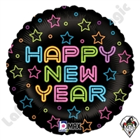 18 Inch Round Neon New Year Foil Balloon Betallic 1ct