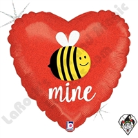 18 Inch Heart Glittering Bee Mine Foil Balloon Betallic 1ct