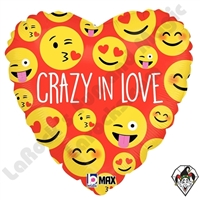 18 Inch Heart Crazy In Love Foil Balloon Betallic 1ct
