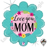 18 Inch Shape Glittering Floral Love You Mom Foil Balloon Betallatex 1ct
