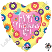 18 Inch Heart Mother's Day Spring Foil Balloon Betallic 1ct