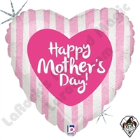 18 Inch Heart Mother's Day Pink Stripes Foil Balloon Betallic 1ct
