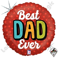 18 Inch Round Bold Best Dad Ever Foil Balloon Betallic 1ct