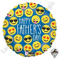 18 Inch Round Emoji Father's Day Foil Balloon Betallatex 1ct