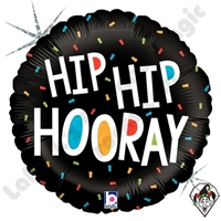 18 Inch Round Hip Hip Hooray Foil Balloon Betallic 1ct