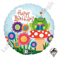18 Inch Round Garden Birthday Foil Balloon Betallic 1ct