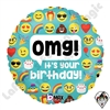 18 Inch Round Emoji OMG Birthday Foil Balloon Betallatex 1ct
