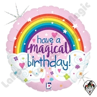 18 Inch Round Glitter Magical Rainbow Birthday Foil Balloon Betallic 1ct