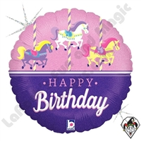 18 Inch Round Carousel Birthday Foil Balloon Betallic 1ct