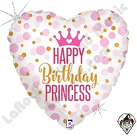 18 Inch Heart Glitter Birthday Princess Foil Balloon Betallic 1ct