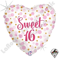 18 Inch Heart Glitter Sweet 16 Foil Balloon Betallic 1ct
