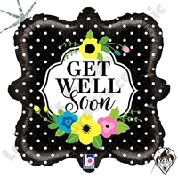 18 Inch Square Floral Get Well Soon Foil Balloon Betallatex 1ct