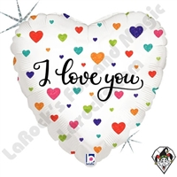 18 Inch Heart Colorful Hearts ILY Foil Balloon Betallic 1ct