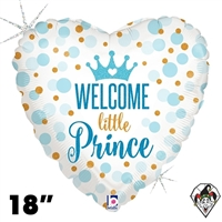 18 Inch Heart Glitter Baby Prince Foil Balloon Betallatex 1ct