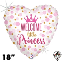 18 Inch Heart Glitter Baby Princess Foil Balloon Betallic 1ct