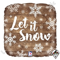 18 Inch Square Let It Snow Foil Balloon Betallic 1ct