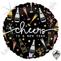 18 Inch Round New Year Cheers Foil Balloon Betallic 1ct