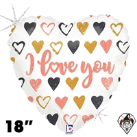 18 Inch Heart Rose Gold Hearts I Love You Foil Balloon Betallic 1ct