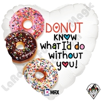 18 Inch Heart Donut Know Foil Balloon Betallatex 1ct