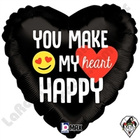 18 Inch Heart Emoji Happy Heart Foil Balloon Betallic 1ct