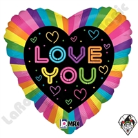18 Inch Heart Neon Love Foil Balloon Betallic  1ct