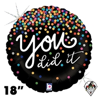18 Inch Round You Did It Confetti Foil Balloon Betallic 1ct
