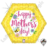 18 Inch Shape Mother's Day Bee & Flowers Foil Balloon Betallic 1ct