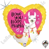 18 Inch Heart Llove You Mama Foil Balloon Betallic 1ct