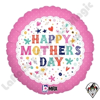 18 Inch Round Whimsical Mother''s Day Foil Balloon Betallic 1ct
