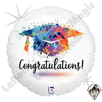 18 Inch Round Painterly Grad Congratulations Foil Balloon Betallatex 1ct
