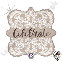 18 Inch Square Lace Celebrate Foil Balloon Betallatex 1ct