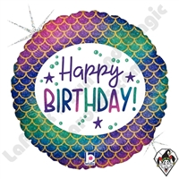 18 Inch Round Glitter Mermaid Birthday Foil Balloon Betallic 1ct