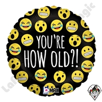 18 Inch Round Emoji How Old Foil Balloon Betallatex 1ct
