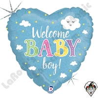 18 Inch Heart Welcome Baby Boy Foil Balloon Betallic 1ct