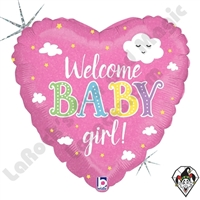 18 Inch Heart Welcome Baby Girl Foil Balloon Betallic 1ct
