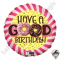 18 Inch Round Donut Birthday Foil Balloon Betallic 1ct