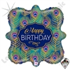18 Inch Square Glitter Peacock Birthday Foil Balloon Betallatex 1ct