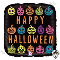 18 Inch Square Halloween Pumpkin Sugar Skull Foil Balloon Betallatex 1ct