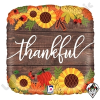 18 Inch Square Rustic Thankful Foil Balloon Betallatex 1ct