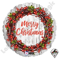 18 Inch Round Rustic Christmas Foil Balloon Betallatex 1ct