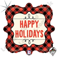 18 Inch Square Buffalo Plaid Holidays Foil Balloon Betallatex 1ct