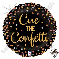 18 Inch Round Cue The Confetti Foil Balloon Betallatex 1ct
