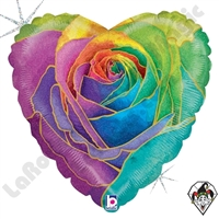 18 Inch Heart Rainbow Rose Foil Balloon Betallic 1ct