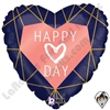 18 Inch Heart Geo Navy Heart Foil Balloon Betallatex 1ct