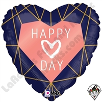 18 Inch Heart Geo Navy Heart Foil Balloon Betallic 1ct