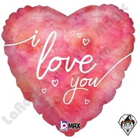 18 Inch Heart Watercolor I Love You Foil Balloon Betallatex 1ct
