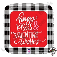 18 Inch Square Buffalo Plaid Valentine Wishes Foil Balloon Betallatex 1ct