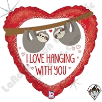 18 Inch Heart Love Hanging With You Sloth Foil Balloon Betallic 1ct