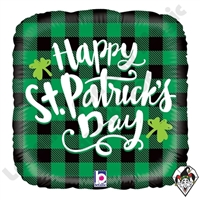 18 Inch Square St. Pat's Buffalo Plaid Foil Balloon Betallatex 1ct