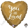 18 Inch Heart You Are Loved Foil Balloon Betallic 1ct